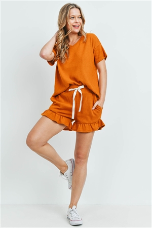 S10-17-3-PPP4054-DJ-1 -WAFFLE TOP AND SHORTS SET WITH SELF TIE-DIJON 1-2-1