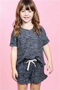 S10-10-2-PPP4054T-BKCHB-1 - TODDLER GIRLS WAFFLE TOP AND SHORTS SET WITH SELF TIE- BLACK/CHAMBRAY 1-1-1