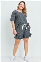 S15-3-3-PPP4054X-BKCHB - PLUS SIZE WAFFLE TOP AND SHORTS SET WITH SELF TIE- BLACK CHAMBRAY 3-2-1
