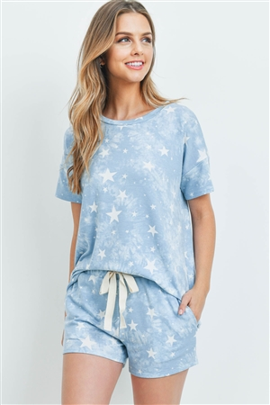 S10-10-2-PPP4055-CPIV-1 - TIE DYE STAR PRINT TOP AND SHORTS SET WITH SELF TIE- CAPRI/IVORY 2-1-2