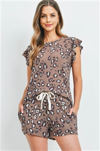 S15-12-1-PPP4057-BWNCB-1 - LEOPARD RUFFLE CAP SLEEVES TOP AND SHORTS SET WITH SELF TIE- BROWN COMBO 0-1-0-2