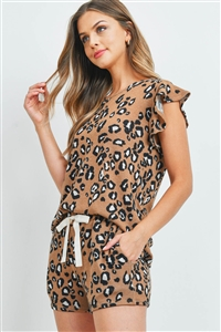 S15-12-1-PPP4057-CMLCB-1 - LEOPARD RUFFLE CAP SLEEVES TOP AND SHORTS SET WITH SELF TIE- CAMEL COMBO 0-2-1-2
