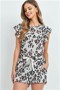 S15-12-1-PPP4057-OTMCB-1 - LEOPARD RUFFLE CAP SLEEVES TOP AND SHORTS SET WITH SELF TIE- OATMEAL COMBO 0-0-0-2