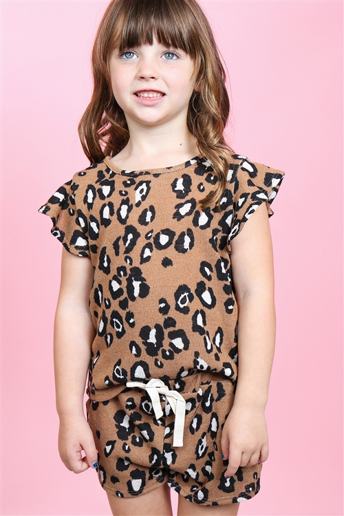 S10-17-3-PPP4057T-CM-1 -TODDLER GIRLS LEOPARD RUFFLE CAP SLEEVES TOP AND SHORTS SET WITH SELF TIE-CAMEL 2-0-0-3