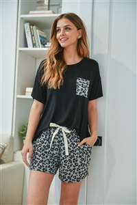 S14-3-1-PPP4060-BKSTGY -TWO TONED TOP LEOPARD POCKET AND SHORTS SET WITH SELF TIE-BLACK STEEL GREY 1-2-2-2