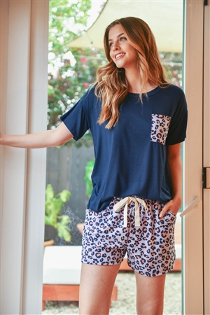 S8-14-2-PPP4060-NVLVCO-1 -TWO TONED TOP LEOPARD POCKET AND SHORTS SET WITH SELF TIE-NAVY LAVENDER CORAL 2-2