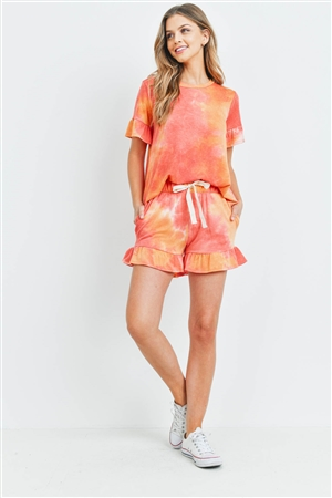 S9-18-1-PPP4061-CRL-1 - SHORT SLEEVES TOP AND SHORTS TIE DYE SET WITH SELF TIE- CORAL 2-2-2