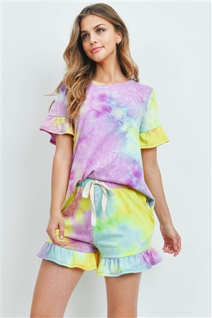 S9-18-1-PPP4061-MGTYLW-1 - SHORT SLEEVES TOP AND SHORTS TIE DYE SET WITH SELF TIE- MAGENTA/YELLOW 2-2-2