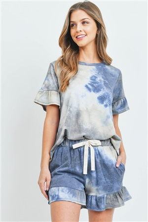 S9-18-1-PPP4061-NV-1 - SHORT SLEEVES TOP AND SHORTS TIE DYE SET WITH SELF TIE- NAVY 1-2-1