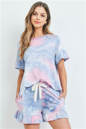 S9-18-1-PPP4061-PKDNM-1 - SHORT SLEEVES TOP AND SHORTS TIE DYE SET WITH SELF TIE- PINK/DENIM 1-2
