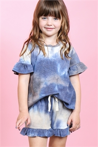 S8-13-3-PPP4061T-NV - TODDLER GIRLS SHORT SLEEVES TOP AND SHORTS TIE DYE SET WITH SELF TIE- NAVY 2-2-2-2