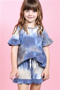S9-15-2-PPP4061T-NV-1 - TODDLER GIRLS SHORT SLEEVES TOP AND SHORTS TIE DYE SET WITH SELF TIE- NAVY 1-2-1
