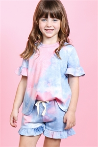 S13-6-2-PPP4061T-PKDNM - TODDLER GIRLS SHORT SLEEVES TOP AND SHORTS TIE DYE SET WITH SELF TIE- PINK/DENIM 2-2-2-2