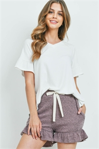 S10-17-1-PPP4062-OFWMV-1 - RIB DETAIL TOP AND HACCI BRUSHED SHORTS SET WITH SELF TIE- OFF-WHITE/MAUVE 1-0-2-0