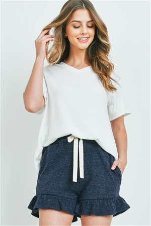 S10-17-1-PPP4062-OFWNV2T-1 - RIB DETAIL TOP AND HACCI BRUSHED SHORTS SET WITH SELF TIE- OFF-WHITE/NAVY 2TONE 0-2-1-2