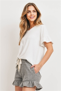 S10-17-1-PPP4062-OFWOTM-1 - RIB DETAIL TOP AND HACCI BRUSHED SHORTS SET WITH SELF TIE- OFF-WHITE/OATMEAL 0-2-0-2