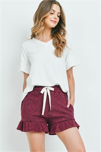 S10-17-1-PPP4062-OFWWN-1 - RIB DETAIL TOP AND HACCI BRUSHED SHORTS SET WITH SELF TIE- OFF-WHITE/WINE 0-2-2-0