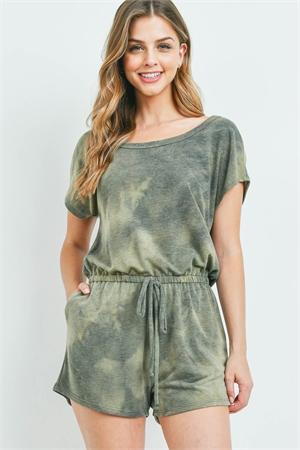 S16-11-4-PPP4066-OV-1 - TIE DYE ROMPER WITH SELF TIE- OLIVE 0-2-2-2