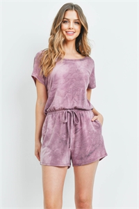 S16-11-4-PPP4066-PPL-1 - TIE DYE ROMPER WITH SELF TIE- PURPLE 0-2-1-2