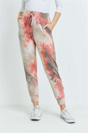 S8-7-2-PPP4067-BRBWN - TIE DYE JOGGER PANTS WITH SELF TIE- BRICK/BROWN 1-2-2-2