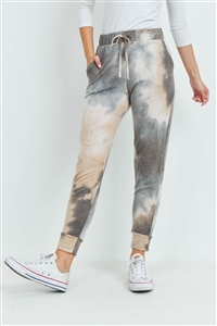 S15-8-4-PPP4067-TPBWN-1 - TIE DYE JOGGER PANTS WITH SELF TIE- TAUPE/BROWN 0-2-2-2