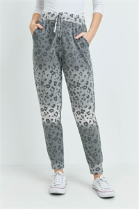S15-8-4-PPP4069-GYBK-1 - OMBRE LEOPARD PRINT JOGGER PANTS WITH SELF TIE- GREY/BLACK 0-1-1-1