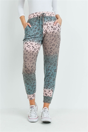 S5-10-4-PPP4069-TLPCHBWN - OMBRE LEOPARD PRINT JOGGER PANTS WITH SELF TIE- TEAL/PEACH/BROWN 1-2-2-2