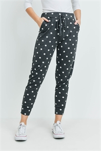 S15-10-4-PPP4070-BKWT - POLKA DOTS JOGGER PANTS WITH SELF TIE- BLACK/WHITE 1-2-2-2