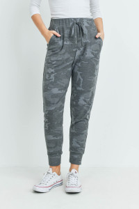 S16-1-5-PPP4071-BK - CAMOUFLAGE JOGGER PANTS WITH SELF TIE- BLACK 1-2-2-2