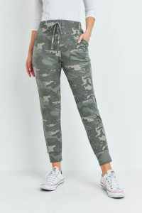 S15-8-4-PPP4071-OV-1 - CAMOUFLAGE JOGGER PANTS WITH SELF TIE- OLIVE 0-1-2-2