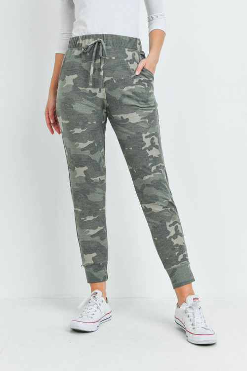 S15-8-4-PPP4071-OV-1 - CAMOUFLAGE JOGGER PANTS WITH SELF TIE- OLIVE 0-2-2-2
