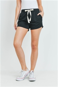 S15-9-3-PPP4075-BKJT-1 - SOLID SHORTS SIDE POCKET WITH SELF TIE- BLACK JET 0-2-2-2
