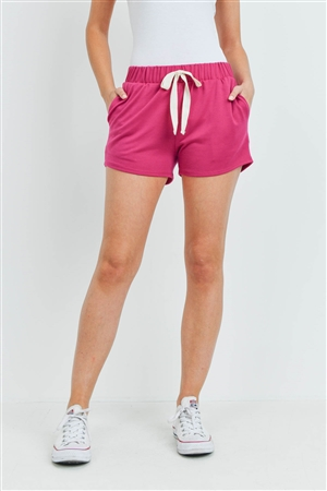 S13-9-1-PPP4075-BRY - SOLID SHORTS SIDE POCKET WITH SELF TIE- BERRY 1-2-2-2
