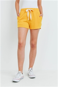 S15-9-3-PPP4075-DKMU-1 - SOLID SHORTS SIDE POCKET WITH SELF TIE- DARK MUSTARD 0-2-2-2