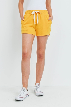 S8-1-3-PPP4075-DKMU - SOLID SHORTS SIDE POCKET WITH SELF TIE- DARK MUSTARD 1-2-2-2