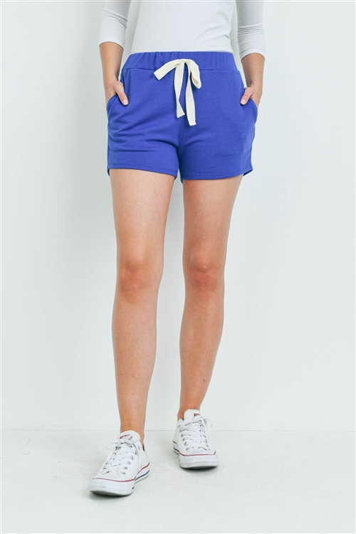 S15-9-3-PPP4075-DKRYL-1 - SOLID SHORTS SIDE POCKET WITH SELF TIE- DARK ROYAL 0-2-2-2