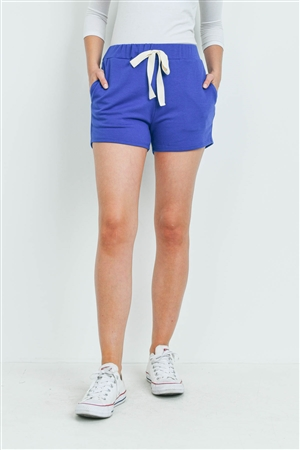 S13-11-2-PPP4075-DKRYL - SOLID SHORTS SIDE POCKET WITH SELF TIE- DARK ROYAL 1-2-2-2