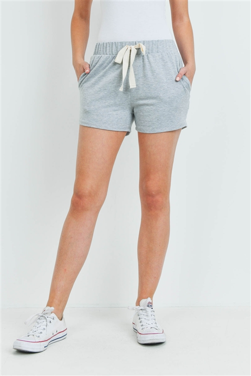S15-9-3-PPP4075-HG-1 - SOLID SHORTS SIDE POCKET WITH SELF TIE- HEATHER GREY 0-2-2-2