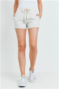 S15-9-3-PPP4075-OTM-1 - SOLID SHORTS SIDE POCKET WITH SELF TIE- OATMEAL 0-2-2-2