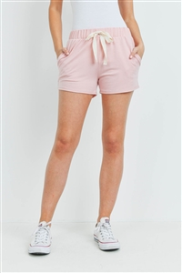S15-9-3-PPP4075-PKPL-1 - SOLID SHORTS SIDE POCKET WITH SELF TIE- PINK/PALE 0-2-2-2