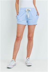 S14-6-2-PPP4075-SK - SOLID SHORTS SIDE POCKET WITH SELF TIE- SKY 1-2-2-2