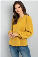 S11-4-4-PPT2001-MU - BUTTON BACK PUFF SLEEVES DRAKE TOP- MUSTARD 1-2-2-2