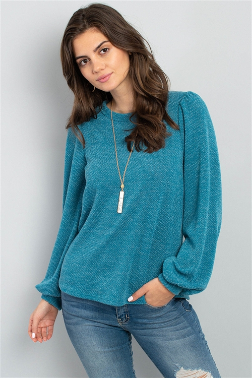 S11-4-4-PPT2001-TL - BUTTON BACK PUFF SLEEVES DRAKE TOP- TEAL 1-2-2-2