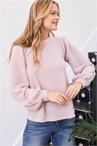 S11-3-4-PPT2001-TP - BUTTON BACK PUFF SLEEVES DRAKE TOP- TAUPE 1-2-2-2
