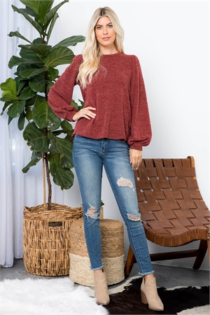 S11-3-4-PPT2001-WN - BUTTON BACK PUFF SLEEVES DRAKE TOP- WINE 1-2-2-2