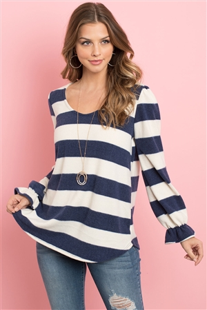 S13-6-3-PPT2002-NVIV - STRIPES RUFFLE SLEEVE ROUND HEM HACCI TOP- NAVY/IVORY 1-2-2-2