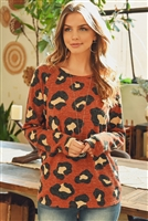 S11-4-2-PPT2008-RST - MIRR HAIR LEOPARD PRINT LONG SLEEVED TOP- RUST 1-2-2-2
