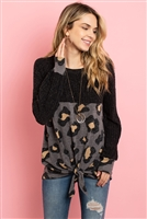 S9-2-3-PPT2009-BKGY - RIB DETAIL PUFF SLEEVED LEOPARD CONTRAST KNOT TOP- BLACK GREY 1-2-2-2