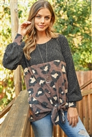 S9-4-2-PPT2009-BKMC - RIB DETAIL PUFF SLEEVED LEOPARD CONTRAST KNOT TOP- BLACK MOCHA 1-2-2-2