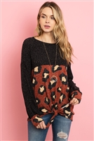 S9-3-3-PPT2009-BKRST - RIB DETAIL PUFF SLEEVED LEOPARD CONTRAST KNOT TOP- BLACK RUST 1-2-2-2